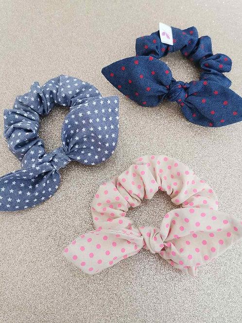 Scrunchies Beige with Pink Dots - Luciole et Petit Pois