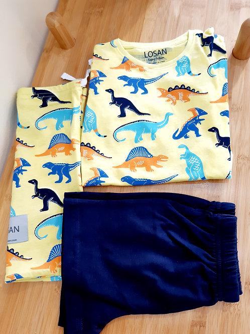 Πυτζάμα Κίτρινο / Μπλε Δεινόσαυροι - Losan