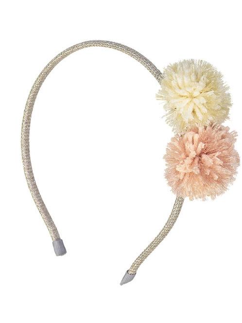 Στέκα Μαλλιών Pompom Λευκό/Ροζ - Παιδικά Αξεσουάρ