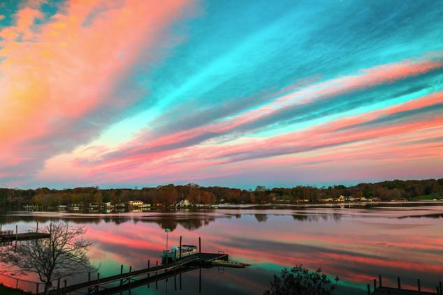 Creamsickle Sky - Lake Lookout Shoals, Catawba North Carolina
