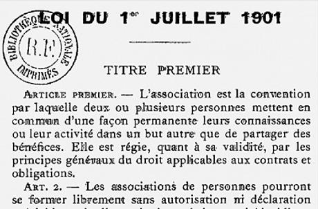 Loi du 1er juillet 1910 sur les associations