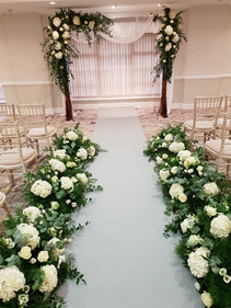 Wooden Arch with Fresh Flowers
