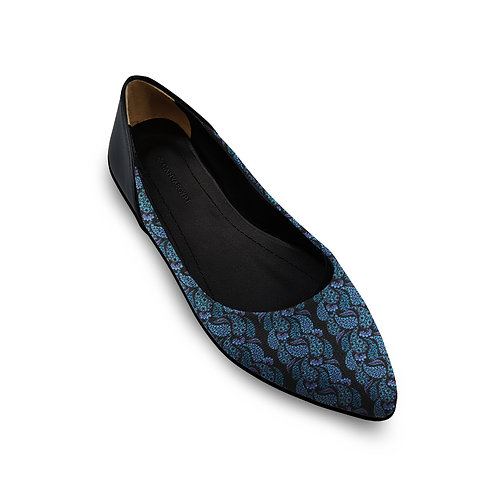 Flat Women's Shoe Blue Pattern