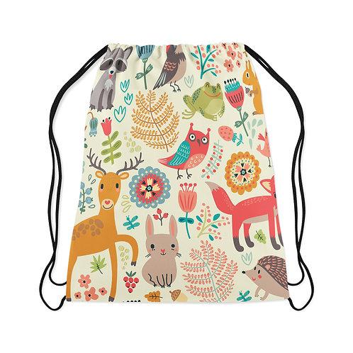 Drawstring Bag Forest Animal White