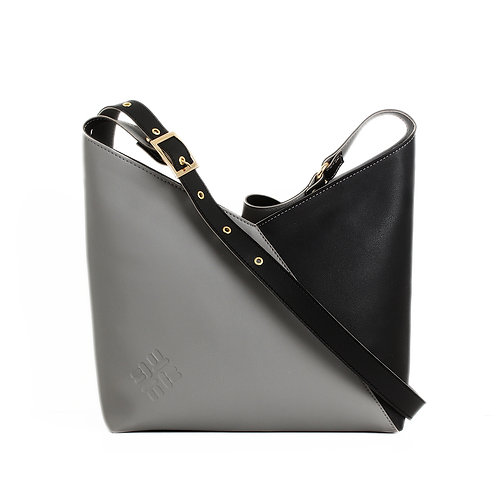 Bicolor Triangles Bags Grey with Black
