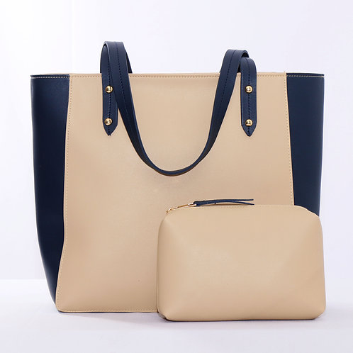 Mixed Solid Handbag DB/Beige