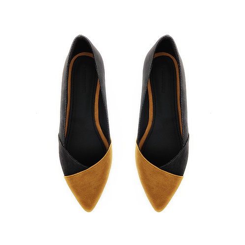 Patchwork Black Havana  Flat Women's Shoe