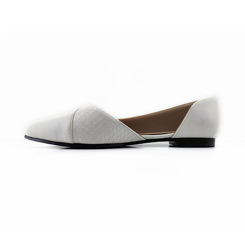 White Slide Sling  Flat Women's Shoe