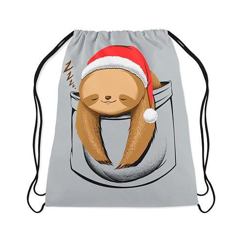 Drawstring Bag Sloth in a pocket Xmas
