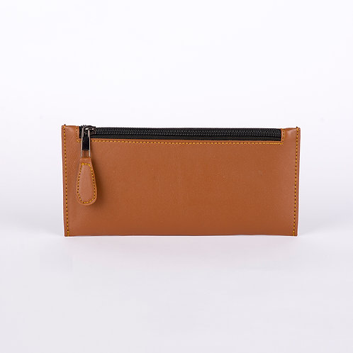Brown Solid Leather Women's Wallet