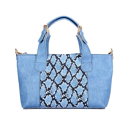Large Handbag Light Blue Mixed Snake Leather