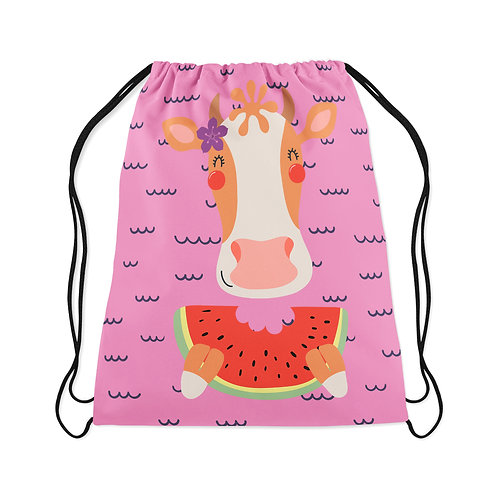 Drawstring Bag Cow And Watermelon