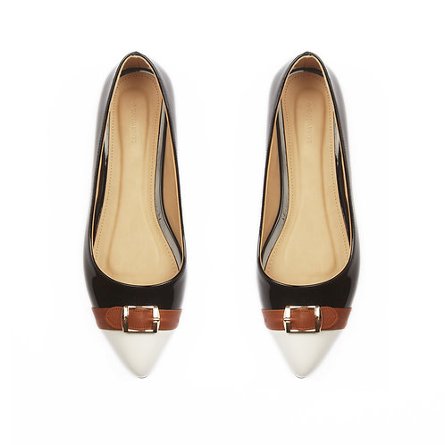 Black Mixed Buckle Flat Shoe