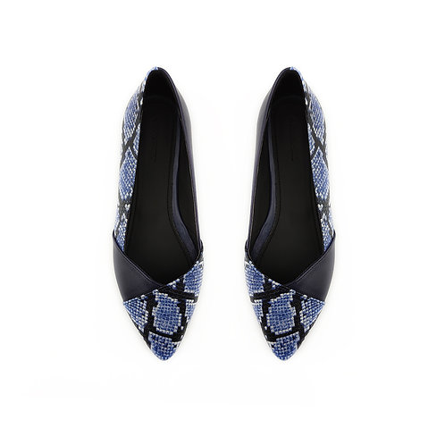 Patchwork DB Snake Flat Women's Shoe
