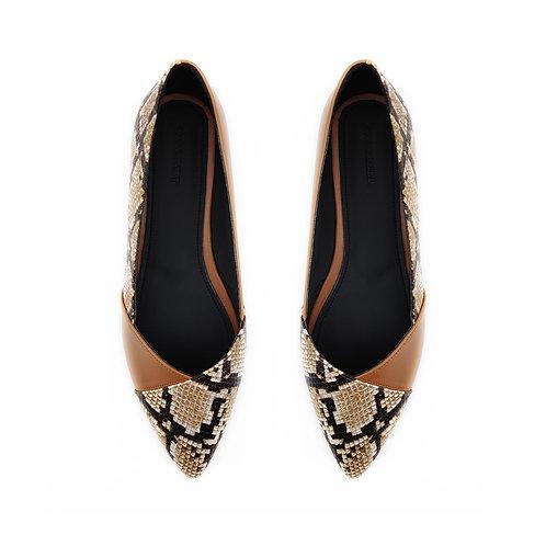 Patchwork Havana Snake Flat Women's Shoe