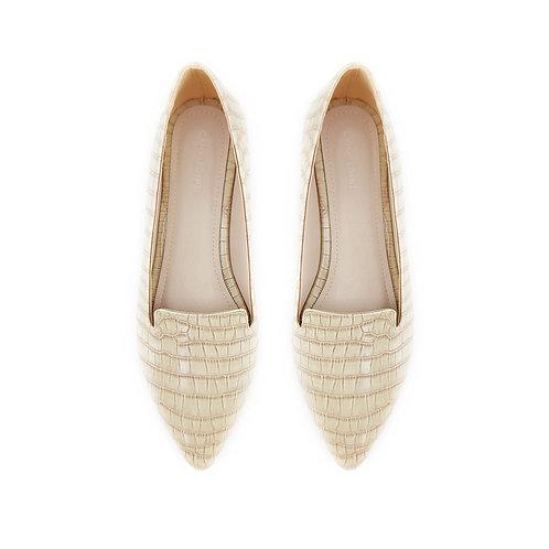 Croc Beige Flat Women's Shoe