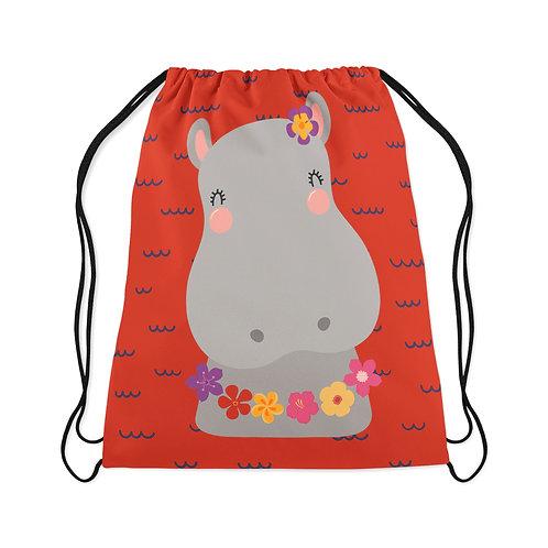Drawstring Bag Cute Hippo