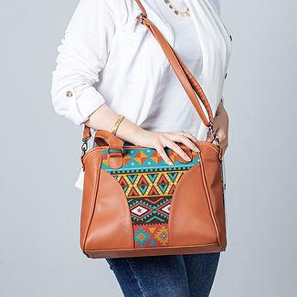 Model Ladies Leather Handbag African Tribal.jpg