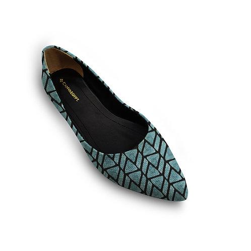 Flat Women's Shoe  African Blue
