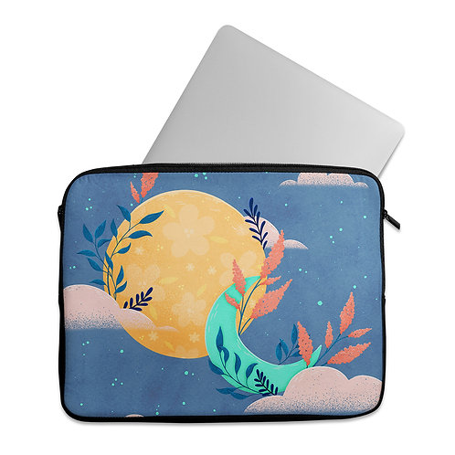Laptop Sleeve Floral Sun and Moon