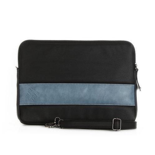 Black Blue  Leather Laptop Sleeve