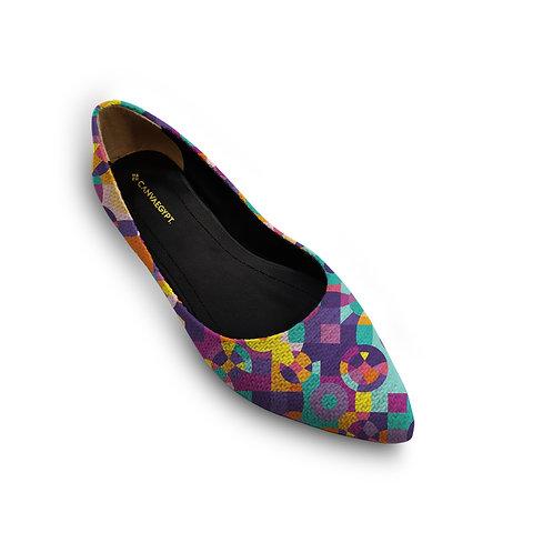 Flat Women's Shoe  Circle Colors