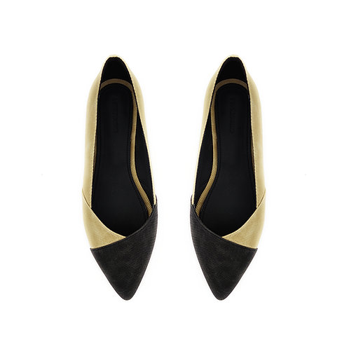 Patchwork Black Beige Flat Women's Shoe