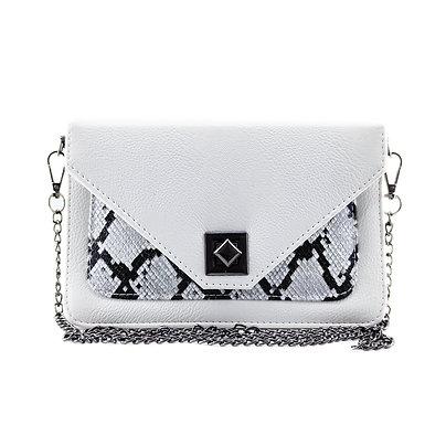 White Mini Embossed Shoulder Bag