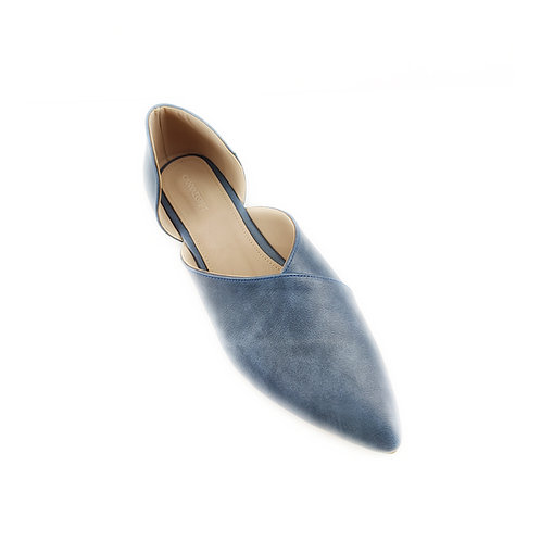 Blue Slide-on Flat Women's Shoe