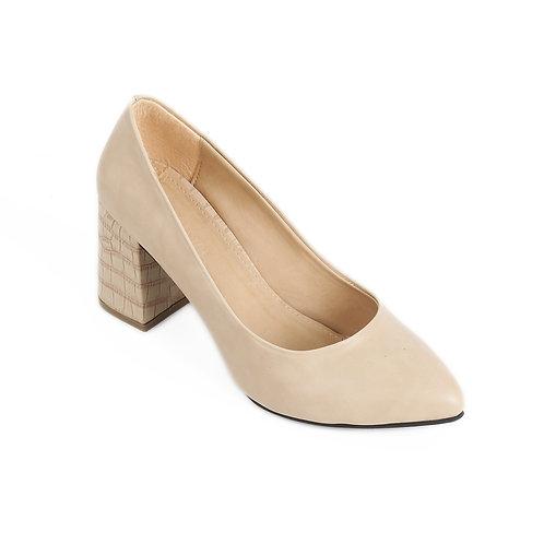 Beige Croc 7cm Heeled Shoe
