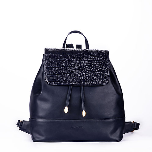 Leather X Crocodile Back Bag ( DBlue )
