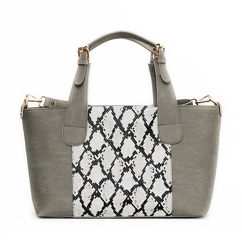 Large Handbag Grey Mixed Snake Leather