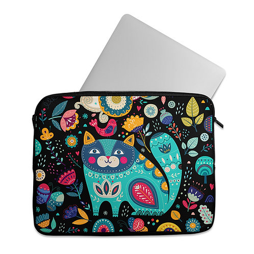 Laptop Sleeve Cat and Flowers