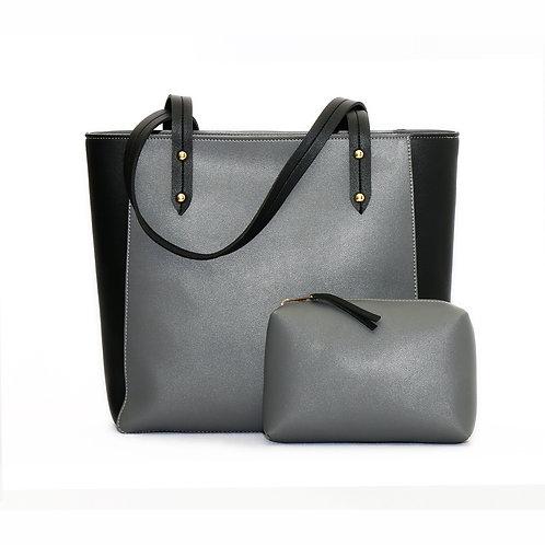 Mixed Solid Handbag Black/Grey