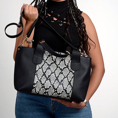 Large Handbag Black Mixed Snake Leather