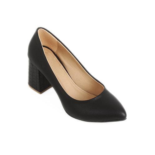 Black Croc 7cm Heeled Shoe