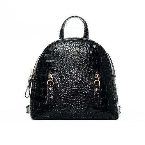 Black Croc Mini Backpack