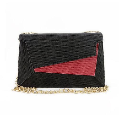 Patchwork Women's Handbag Red Black