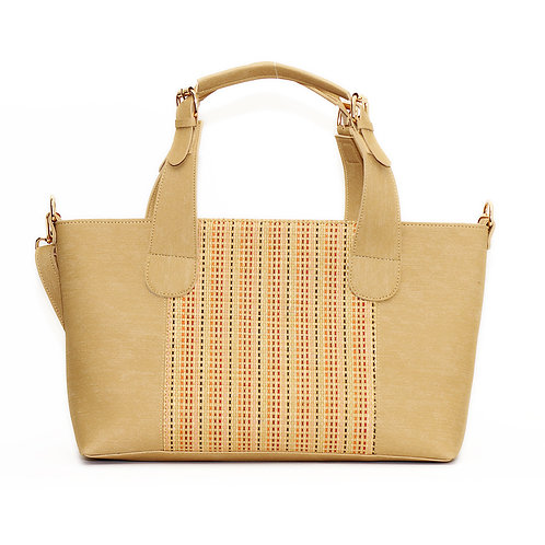 Large Handbag Beige Leather