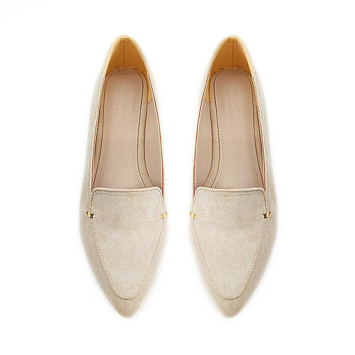 Beige  Stamp Flat Women's Shoe