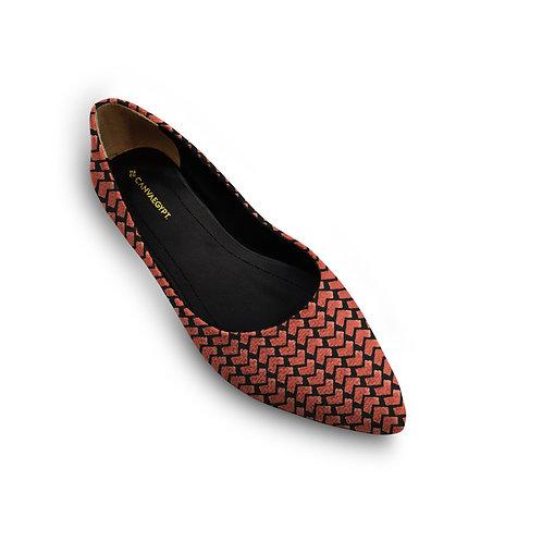 Flat Women's Shoe  African Red