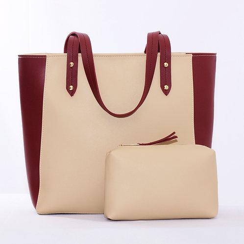 Mixed Solid Handbag DR/Beige