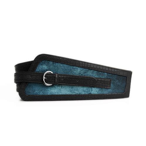 Black Women's Belt Blue Texture