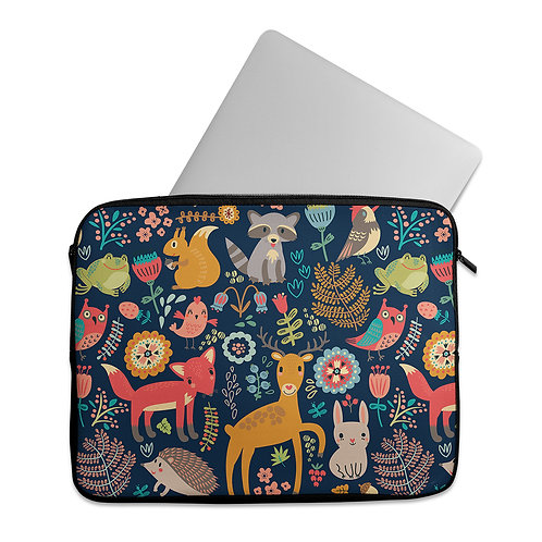 Laptop Sleeve Night Forest Animals