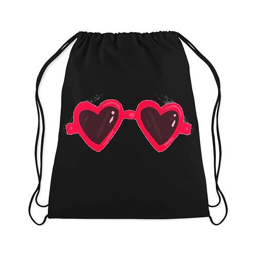 Drawstring Bag Heart Glasses