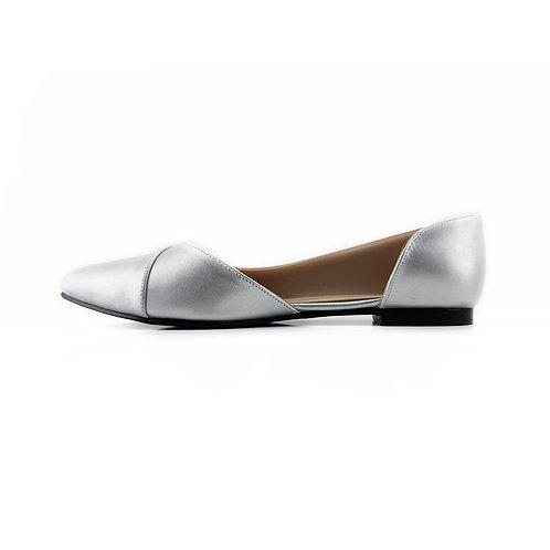 Silver Slide Sling  Flat Women's Shoe