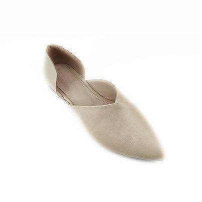 Beige Slide-on Flat Women's Shoe