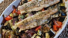 Légumes grillés et dos de cabillaud