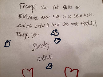 Thank you letter from a teen without a family.