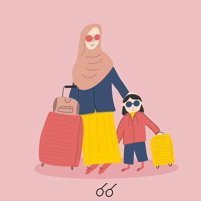 Ilustrasi travel journal. Aliya and Me.